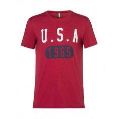 T-shirt maniche lunghe, girocollo, in misto cotone con stampa. red