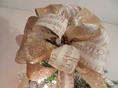 Large  Christmas Tree topper bow gold glitter by creativelycarole