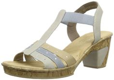 Rieker womens Sandal grey/blue size 37.0 EU. Women's Rieker, Roberta 40 Mid Heel Sandals. Pair these sandals with your favorite capris and skirts!. Manmade upper with rhinestone jewels for added appeal. Slip on style for an easy on and off. Smooth manmade lining.