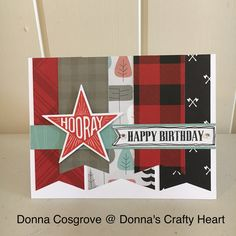 Male Birthday card designed and created by Donna Cosgrove, CTMH Manager, featuring the Jack paper collection and A1205 Hooray stamp and coordinating Thincut.
