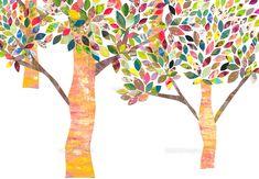 カラフルな木のイラスト