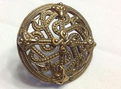 Kalevala Koru Signed KK Brass Shield Brooch by SweetBettysBling, $65.00