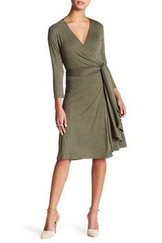 3/4 Length Sleeve Wrap Dress