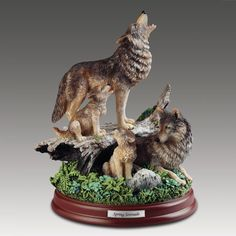 The Bradford Exchange celebrates the warmth and love found in the family ties of the wolf pack, so like the love we feel for our family. Each detailed captures the majesty and the strength of the family bond between the wolf, its life-mate and their adorable cubs. Meticulously hand-painted for lifelike detail, each fully-dimensional, hand-cast edition celebrates the love and loyalty now known to be the hallmark of wolf families. Measures about 8 inches tall.
