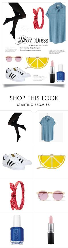 """ShirtDress"" by diomndhala ❤ liked on Polyvore featuring Madewell, adidas, Jessica McClintock, Charlotte Russe, Sheriff&Cherry, Essie, MAC Cosmetics and shirtdress"