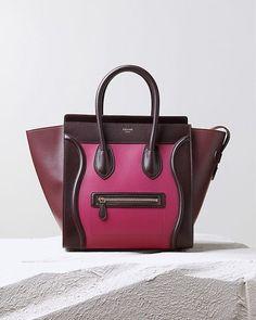 Collezione borse #Celine Autunno Inverno 2014-2015 - Luggage bag in burgundy e fucsia #bags #bag