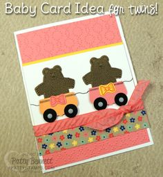 Bear Hugs Baby Card idea for Twins!  Stampin' UP! In Colors, stamps and die cuts used to create this handmade baby card by Patty Bennett