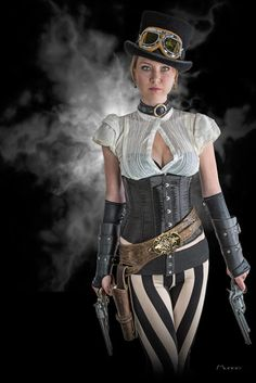 Black And White Striped Steampunk (pants and leggings for women) - For costume tutorials, clothing guide, fashion inspiration photo gallery, calendar of Steampunk events, & more, visit SteampunkFashionGuide.com