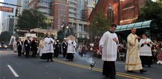 The 2012 Eucharistic Procession drew thousands of Catholics from across the Diocese of Charlotte. The spectacular procession takes the Blessed Sacrament from St. Peter Church to the Charlotte Convention Center, where the Eucharist is placed at the center of worship and attention throughout the two-day Congress.