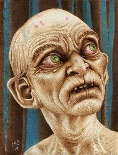 """""""Gollum"""" Pyrography on Paper. Clive Smith."""