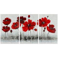 Red Poppy Canvas Print Set