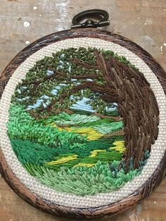 Hand embroidered English countryside by UsedthreadsShop on Etsy
