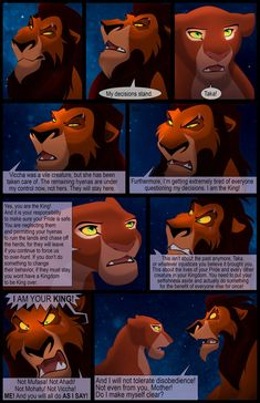 Alright, had to go in and fix a speech bubble anyway, so I sorta jank-added the missing scar bits. EDIT: I know I missed some of Scar's bottom sc. Scar's Reign: Chapter Page 13 Lion King Tree, Lion King Story, Lion King 3, Lion King Fan Art, Disney Lion King, Lion King Series, Lion King Pictures, Photo To Cartoon, Le Roi Lion