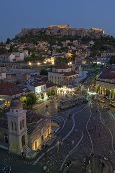 Monastiraki, Athens, Greece. Love this view of the Acropolis, one of my favorites to go to and sit in the square at night eating souvlaki and looking at the Acropolis.