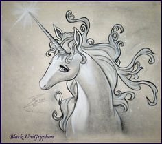 the last unicorn tattoo | Last Unicorn Portrait by ~BlackUniGryphon on deviantART