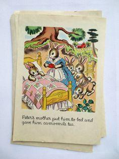 "Vintage Book Illustrations - Set of 8 Pages ""Peter Rabbit"" - Vintage Wall Decor - Nursery Decor"