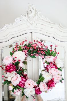 24″ grapevine wreath base 8 – Light Pink Peonies 5 – White Peonies 5 – Hot Pink Peonies 5 – Hot Pink Cherry Blossom Stems Wire Clippers