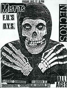 The Misfits, Necros, F.U.'s and D.Y.S. | 35 Old Punk Flyers That Prove Punk Used To Be So Cool