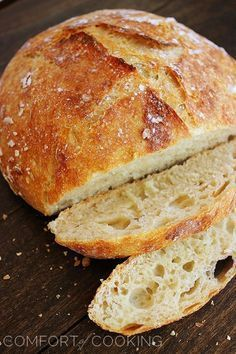 No-Knead Crusty Artisan Bread – My most reader-loved recipe! This crusty, fluffy artisan bread needs only 4 ingredients and 5 minutes.   thecomfortofcooking.com