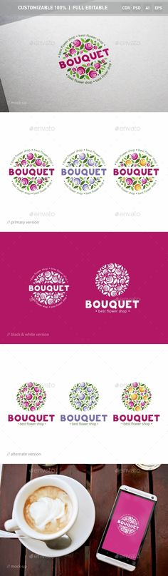 Bouquet of Flowers Logo PSD Template • Download ➝ https://graphicriver.net/item/bouquet-of-flowers-logo-template/12965287?ref=pxcr