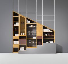 cubus shelf units by TEAM 7 offers practically limitless design options ✓ Extremely flexible ✓ Customisable ✓ Shelves made of pure solid wood. Living Room Bookcase, Home Living Room, Living Area, Living Room Furniture, Solid Wood Shelves, Wooden Shelves, Wood Shelf, Team 7, Classic Library