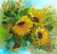 SUNFLOWERS ORIGINAL OIL PAINTING 12 x 12 FLORIDA PAT ROLLINS #Outsider