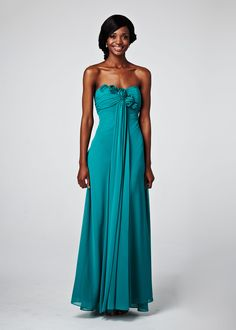 Curved neckline bridesmaid's dress with flower detail