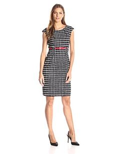 Connected Apparel Womens One Piece Check Sheath with Red Belt BlackRed 12 -- You can get more details by clicking on the image.