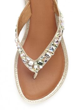 "Yellowbox ladies flip flops with jewel accents, gold accent and small 1"" heel Available in sizes 6-11"