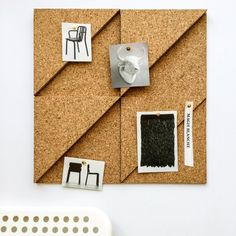 Modular Cork Right Angle Triangle Tiles, Natural - Set of 3 / Noticeboard / Bulletin Board / Message Board / Home Office / Organization