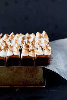 Salted Caramel Chocolate Meringue Brownies