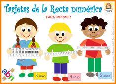 TARJETAS DE LA RECTA NUMÉRICA. MATERIAL ABN PARA IMPRIMIR Math Games, Family Guy, School, Superhero, Fictional Characters, Geography, World, Templates, Infant Activities