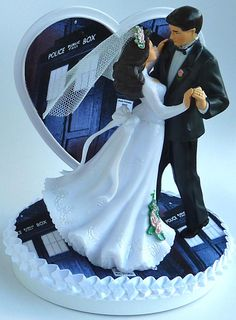 ITEM DETAILS Looking for a more traditional wedding cake topper with a touch of unique flair? Weve got you covered with our one-of-a-kind Doctor Who-themed wedding cake top that has multiple uses for one of its components… not to mention two different options for the cake topper base itself!
