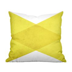A double-sided print of overlapping triangles lends contemporary geometric flair to this Angles Pillow in Yellow. Made from 100 percent spun polyester poplin fabric, this designer addition is a fantast...  Find the Angles Pillow in Yellow, as seen in the Forms of Neo-futurism Collection at http://dotandbo.com/collections/forms-of-neo-futurism?utm_source=pinterest&utm_medium=organic&db_sku=109701