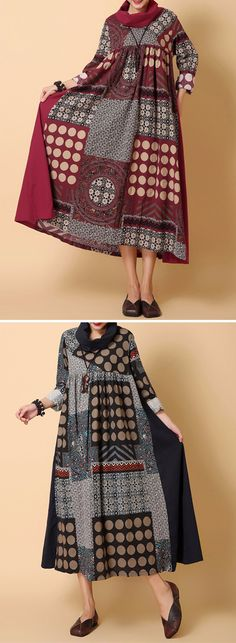 [Newchic Online Shopping] 49%OFF Gracila Vintage Patchwork Dresses