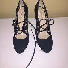 Black lace up heels Lace up black heels. Only worn once. not actually steve madden using that for exposure. smoke and pet free home. REMEMBER ALL SALES GO TO SUPPORT MY MISSION TRIP💗💗💗 happy poshing!!!!!!:) Steve Madden Shoes Heels