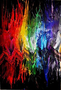 Rainbow melted crayon art...this would be cool in the kitchen :-)