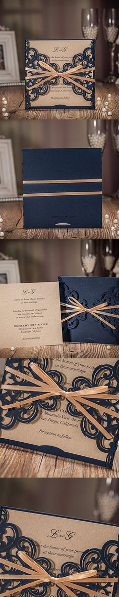 JOFANZA 50x Blue Rustic Square Laser Cut Wedding Invitations Cards with Bow Lace Sleeve Invitations for Engagement Baby Shower Birthday Quinceanera (set of 50pcs) CW6175