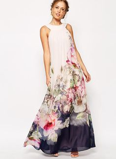 Mieszanki bawełniane Z Wydrukować Maxi Sukienka (199207851)