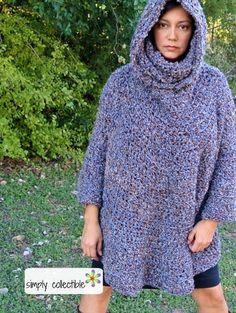 Hooded Poncho Cowl Crochet Pattern.  Free easy-level pattern.