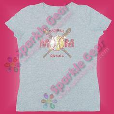 Crossed bats split ball rhinestone shirt