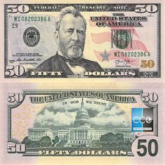US Dollar - Banknotes of the United States of America - Pictures of Money 100 Dollar Bill, Dollar Money, Us Currency Bills, Money Template, Psd Templates, Federal Reserve Note, Money Notes, Image New, Play Money