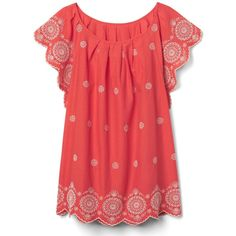 Gap Women Embroidery Flutter Sleeve Top ($60) ❤ liked on Polyvore featuring tops, new coral, regular, ruffle sleeve top, red top, scallop edge top, coral top and scalloped tops