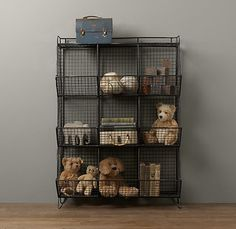 RH Baby & Child's Industrial Wire 9 Cubby Storage - Zinc:Wire bins lend a warehouse aesthetic to the bedroom or playroom while helping contain clutter and keeping things organized. Regal Industrial, Vintage Industrial Decor, Industrial Storage, Industrial Nursery Decor, Industrial Boys Rooms, Decor Vintage, Design Industrial, Industrial Pipe, Vintage Kids