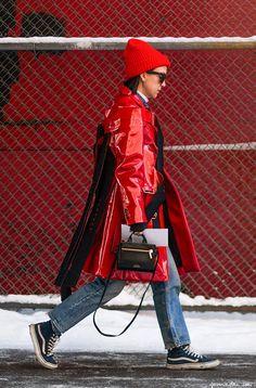 Street style, New York Fashion Week, Vans, red / Garance Doré