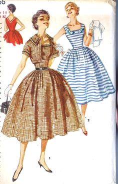 Simplicity 1056 ©1955 Dress with Detachable Bows and Jacket