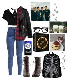 """""""Geek School 5SOS"""" by thaisa-tcs ❤ liked on Polyvore featuring Miss Selfridge and Rosegold"""
