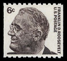 The Post Office Department featured Franklin D. Roosevelt (1882–1945), the nation's thirty-first president, on the initial 6-cent stamp of the Prominent Americans Issue.