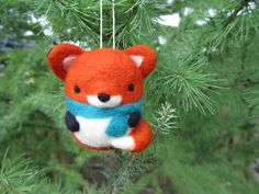 Needle Felted Fox Ornament, Christmas Ornament, Felt Fox Ornament, Christmas Decoration, Felt Ornament, Red Fox, Woodland, Christmas Gift
