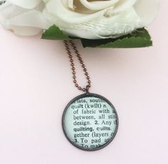 Quilt Word Necklace Vintage Dictionary Word Charm Quilters